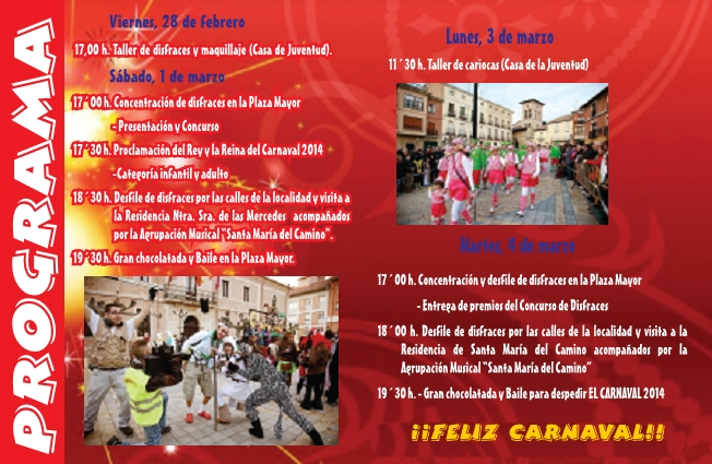 Programa carnaval 2014 Carrión de los Condes
