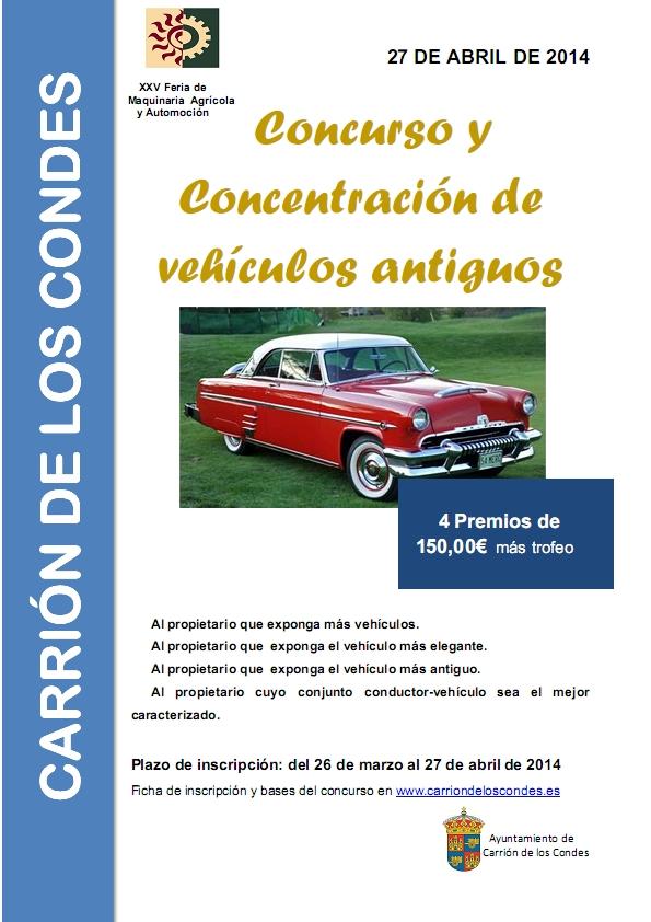Cartel concurso y concentración de vehículos antiguos en Carrión de los Condes