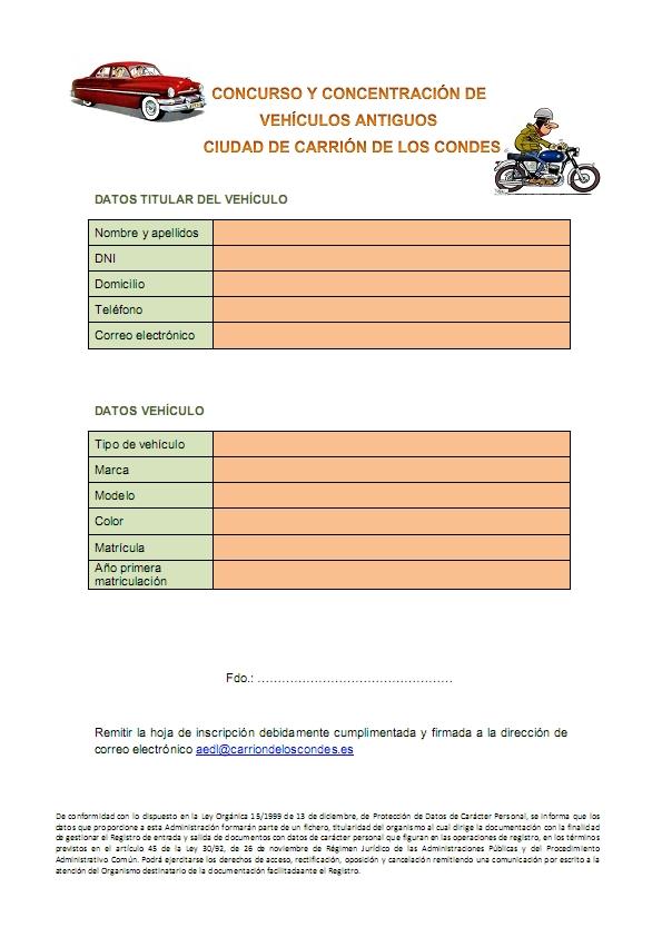 Ficha de inscripción coches antiguos ciudad de Carrión en Carrión de los Condes