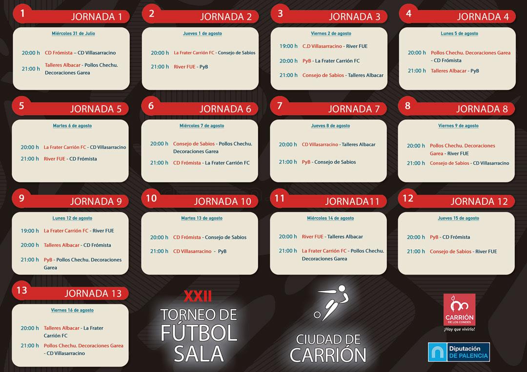 CALENDARIO DE PARTIDOS XXII Torneo Fútbol Sala «Ciudad de Carrión» 2019