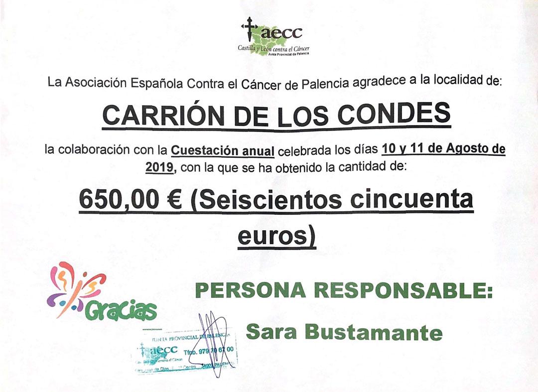 Recaudación de 650€ para la Asociación Española Contra el Cáncer de Palencia