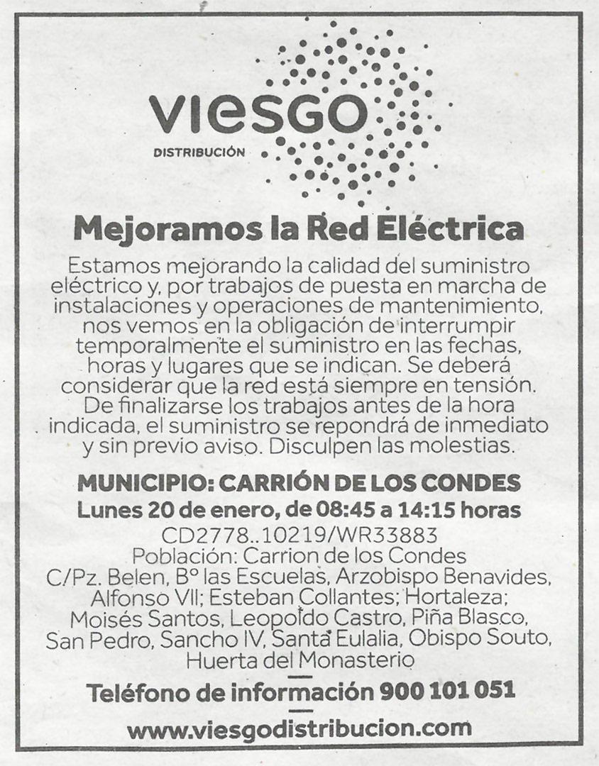 Interrupción temporalmente el suministro eléctrico