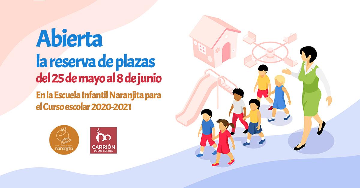 Abierta la reserva de plazas en la Escuela Infantil Naranjita para el Curso escolar 2020-2021