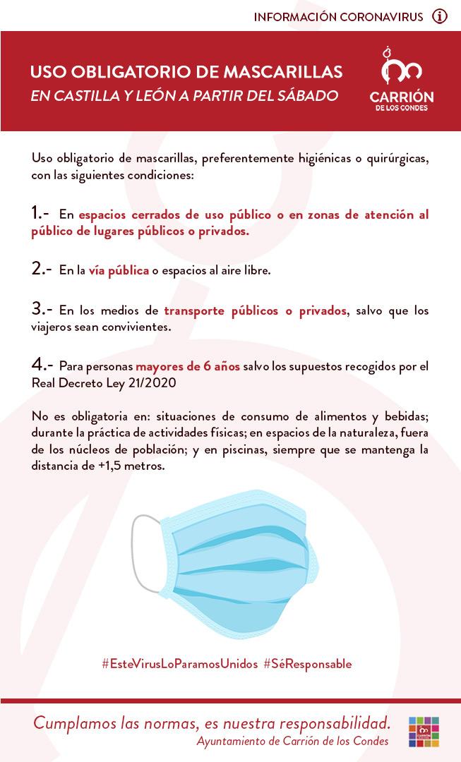 USO OBLIGATORIO DE MASCARILLAS EN CASTILLA Y LEÓN A PARTIR DEL SÁBADO