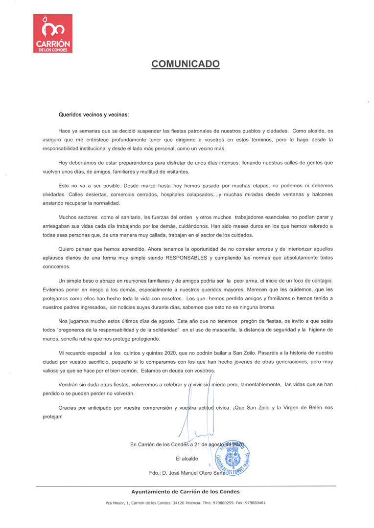 COMUNICADO fiestas patronales San Zoilo 2020