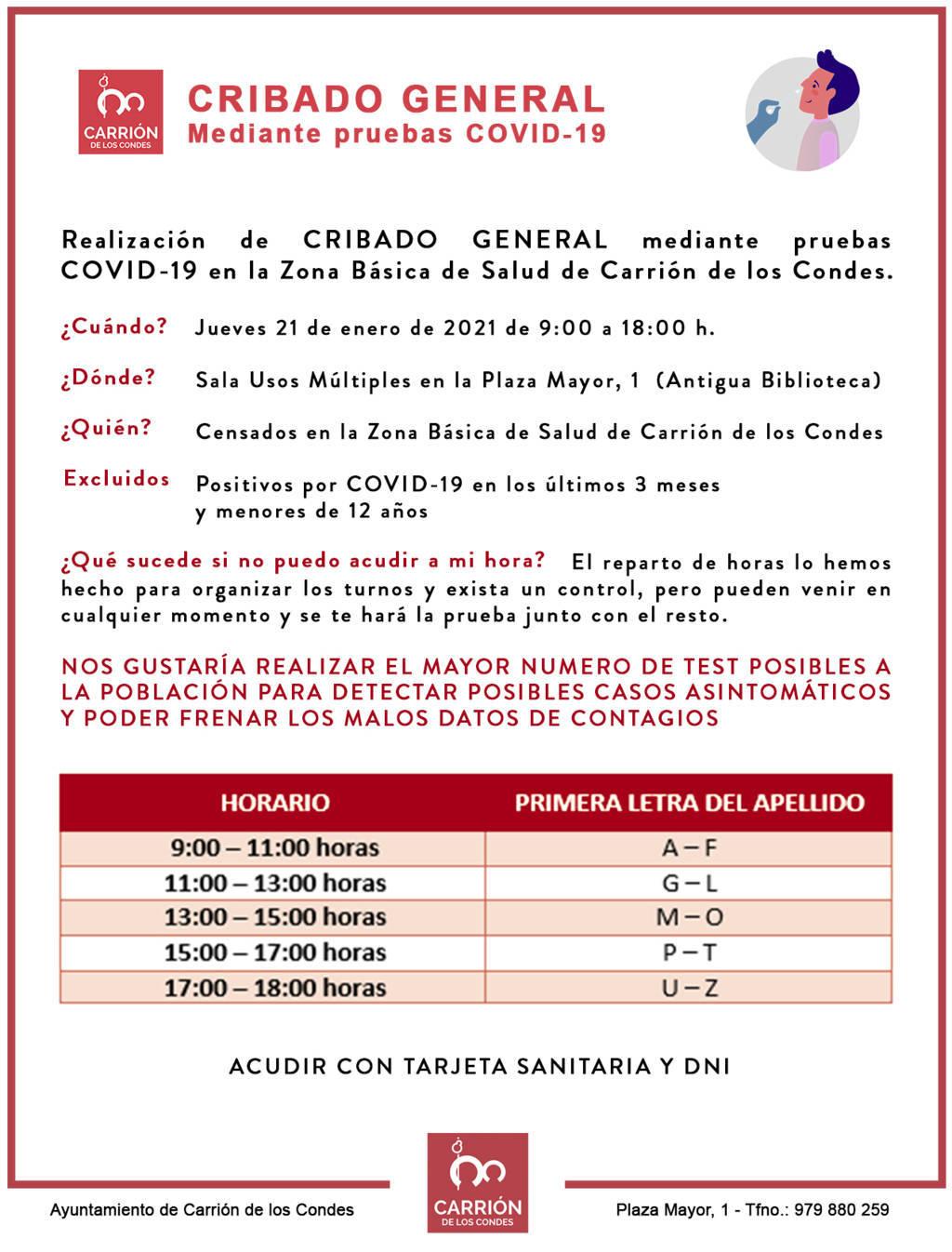 Reparto de horas y apellidos para el CRIBADO GENERAL mediante pruebas COVID-19