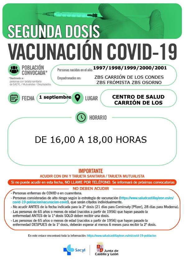 Vacunación COVID-19   Año 1997, 1998, 1999, 2000 y 2001