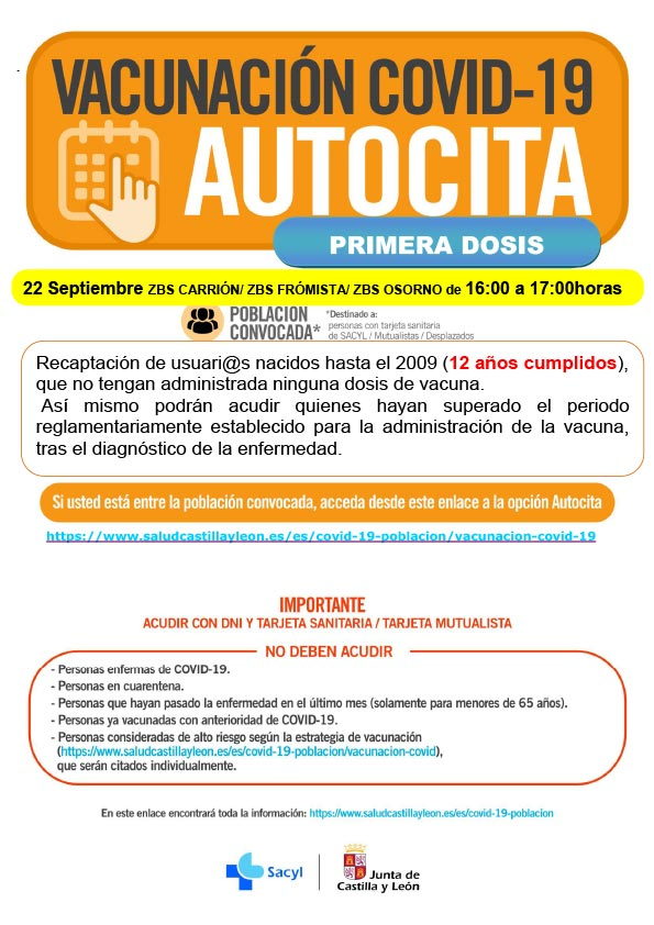 AUTOCITA CARRIÓN PRIMERA DOSIS 22 SEPTIEMBRE