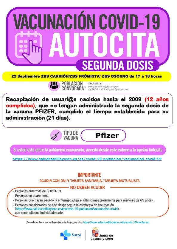 AUTOCITA CARRION SEGUNDA DOSIS 22 SEPTIEMBRE