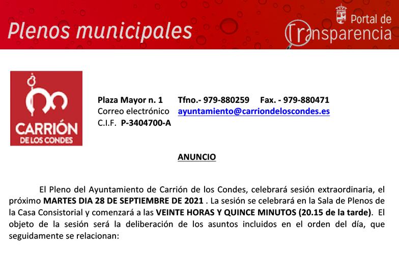 Anuncio Pleno 28-09-2021